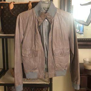 Banana Republic Gray Leather Jacket